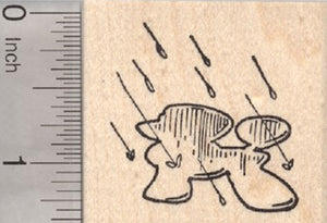 Poodle Shaped Puddle Rubber Stamp, Spring Showers, Raining Cats and Dogs