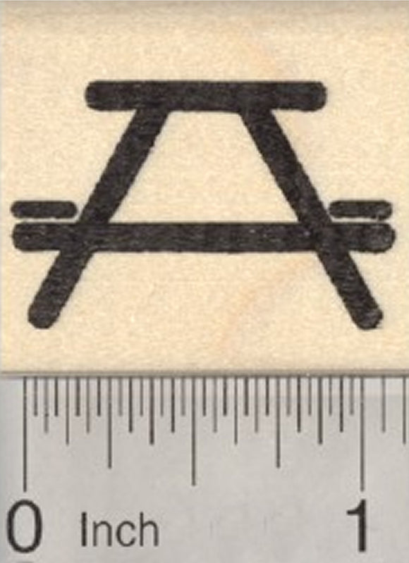 Picnic Table Symbol Rubber Stamp