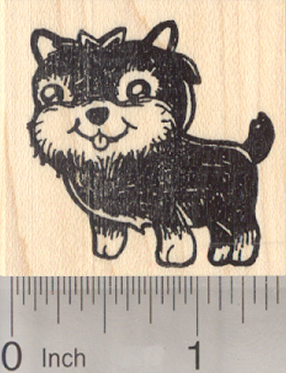 Yorkshire Terrier Rubber Stamp, Yorkie Dog