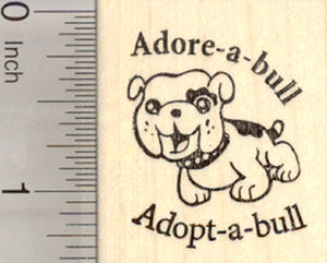 Adopt a Dog Rubber Stamp, Bulldog, Bully Breed