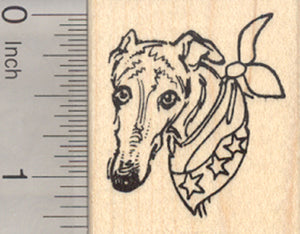 4th of July Greyhound Rubber Stamp, Patriotic Dog