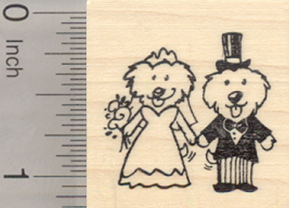 Bichon Frise Wedding Rubber Stamp, Dog Bride and Groom, Maltese