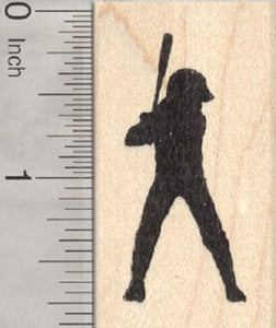 Girl Softball Player Rubber Stamp, at Bat