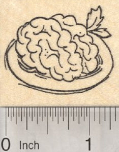 Brain Rubber Stamp, Zombie Theme, On a Plate With Parsley