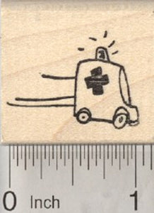 Tiny Ambulance Rubber Stamp, Get Well, Medical