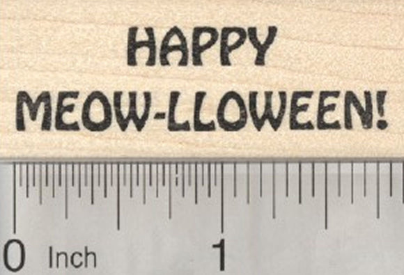 Cat Halloween Saying Rubber Stamp, Happy Meow-lloween