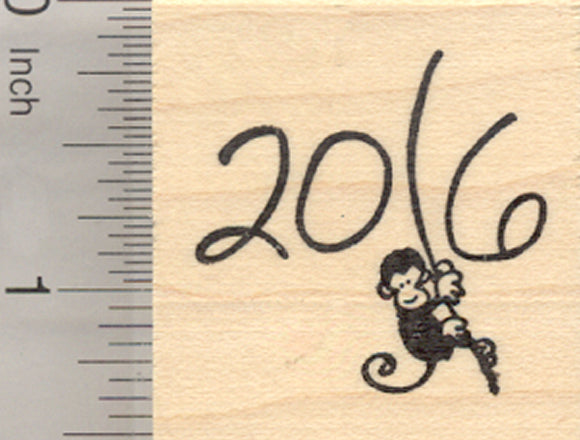2016 Year of the Monkey Rubber Stamp, Swinging from Vine