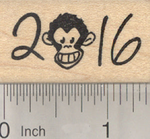 2016 Year of the Monkey Rubber Stamp, with Face