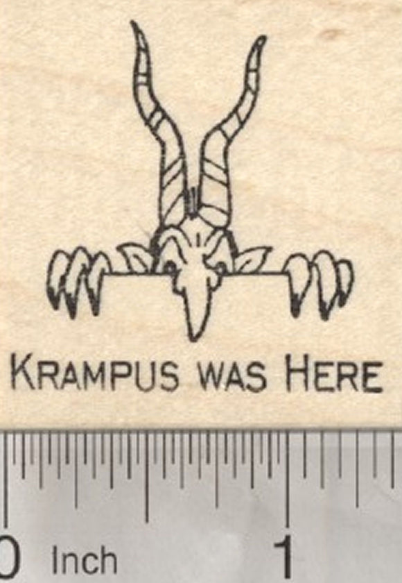 Krampus Was Here Rubber Stamp, Christmas