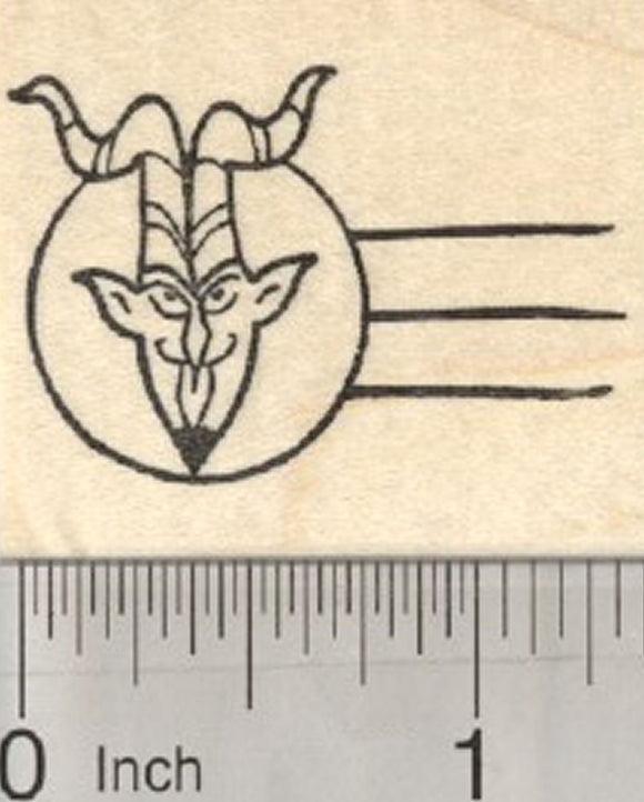 Krampus Faux Cancellation Rubber Stamp, Christmas Letter Series