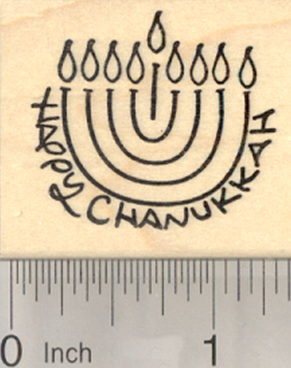 Happy Chanukkah Menorah Rubber Stamp, Jewish Festival of Lights