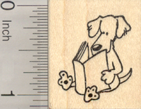 Small Dog Reading Rubber Stamp, Paws to Read Series