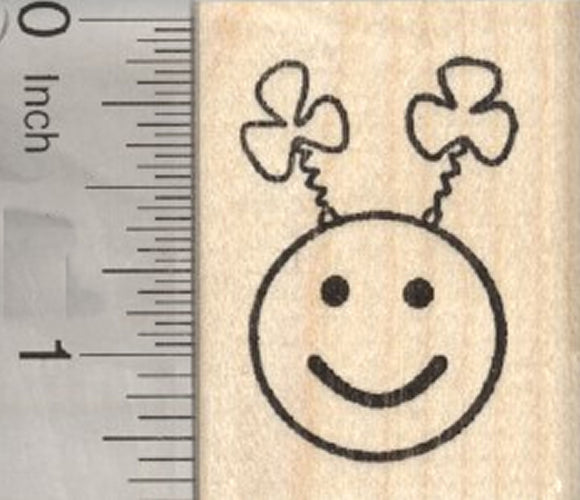 St Patrick's Day Emoji Rubber Stamp, with Shamrock Antennae