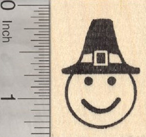 Thanksgiving Emoji Rubber Stamp, with Pilgrim Hat