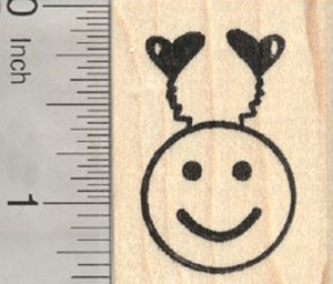 Valentine's Day Emoji Rubber Stamp, with Heart Antennae