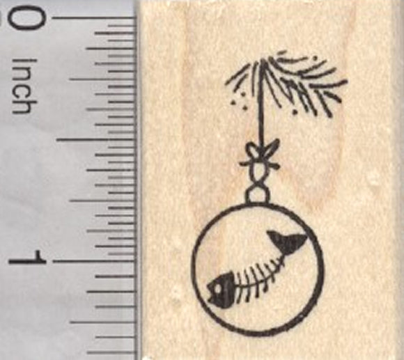 Cat Christmas Tree Ornament Rubber Stamp