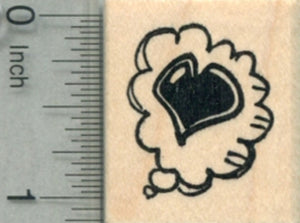 Loving Thought Balloon Rubber Stamp, Valentine's Day, Heart
