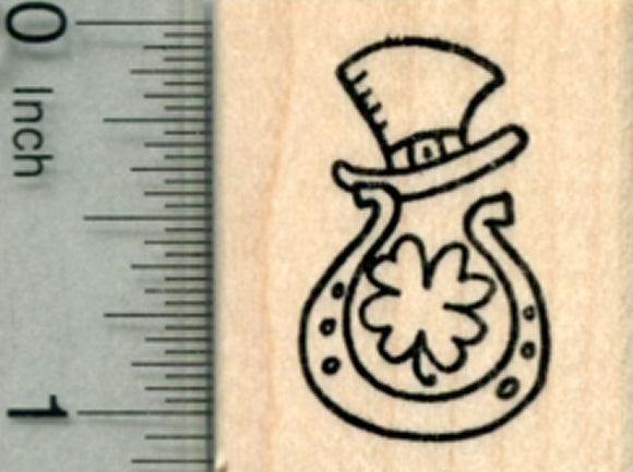 Saint Patrick's Day Rubber Stamp, Lucky Horseshoe, Four Leaf Clover, and Leprechaun Hat