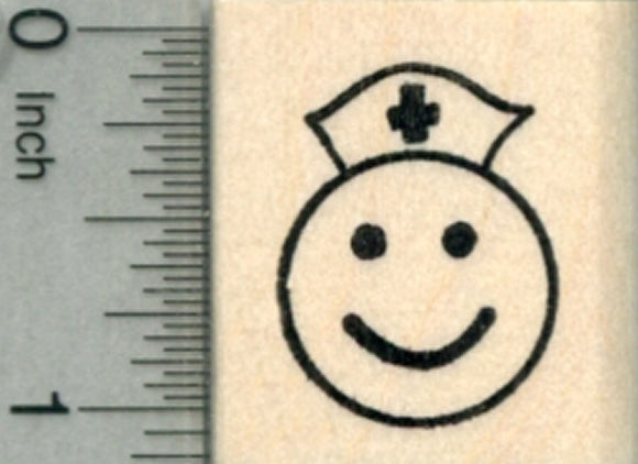Get Well Emoji Rubber Stamp, Nurse Smiley Face