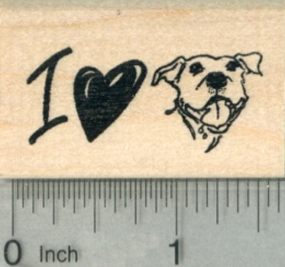 Pitbull Dog Rubber Stamp, I Love My Pit Bull