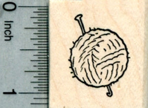 Crochet Hook and Yarn Rubber Stamp