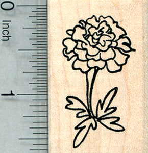 Marigold Flower Rubber Stamp, Summer Floral Series