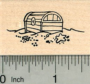 Pirate Treasure Rubber Stamp, Chest on Sea Floor
