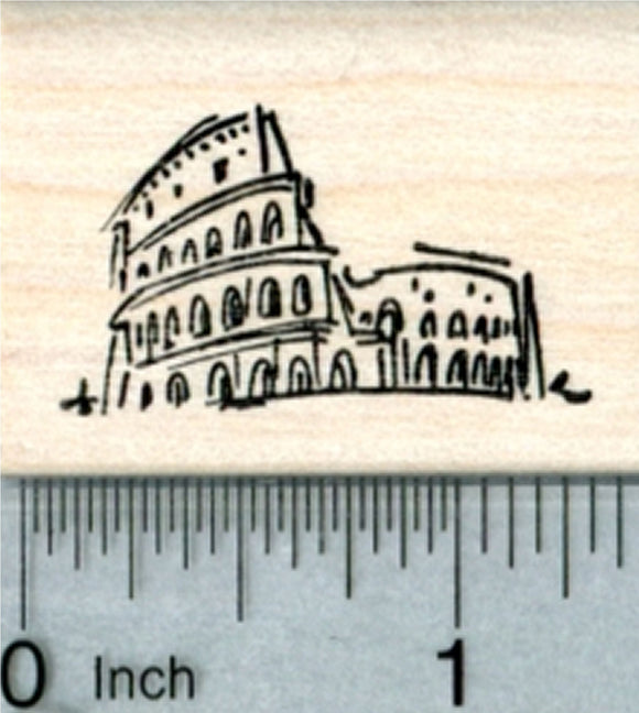 Colosseum Rubber Stamp, Roman Coliseum, Italy, Travel Series