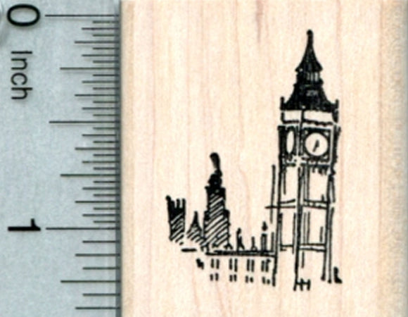 Tiny Big Ben Rubber Stamp, Westminster London, World Travel Series