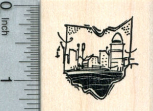 Cincinnati Riverfront Rubber Stamp, State of Ohio