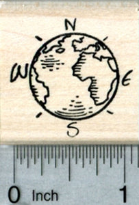 Globe Rubber Stamp, Marked with Cardinal Directions