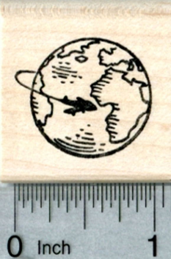 Air Travel Globe Rubber Stamp, with Airplane
