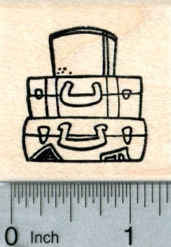 Luggage Rubber Stamp, Suitcases