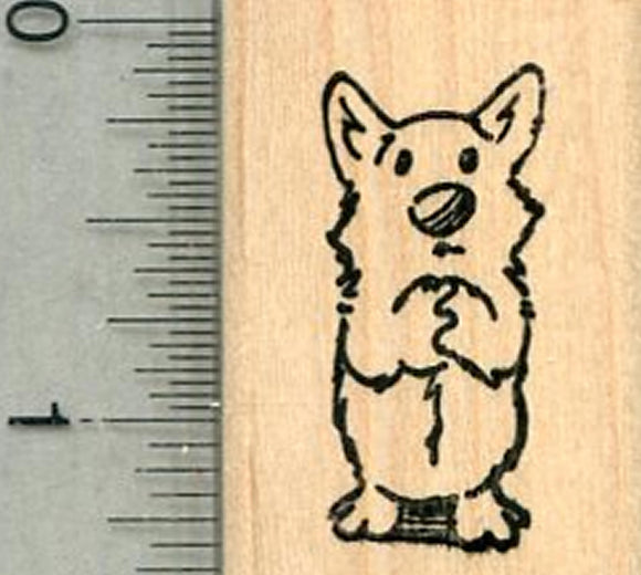 Dog Praying Rubber Stamp, Small Size