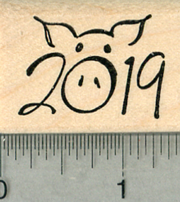 Year of the Pig Rubber Stamp, Chinese Zodiac, 2019 Cute Snout