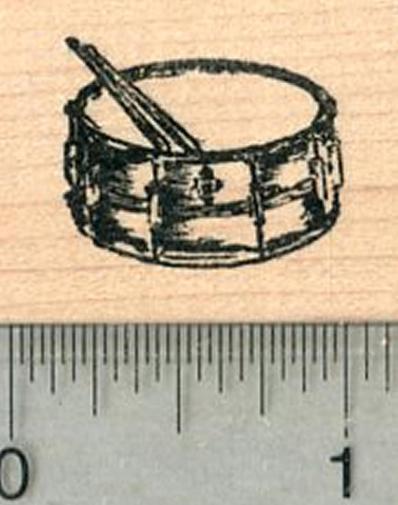 Tiny Snare Drum Rubber Stamp, Percussion Musical Instrument Series