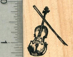 Tiny Violin Rubber Stamp, String Musical Instrument Series