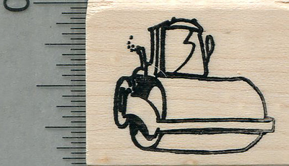 Steamroller Rubber Stamp, Construction Equipment Series