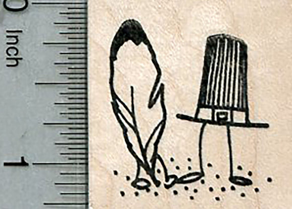 Thanksgiving Rubber Stamp, Pilgrim Hat and Feather