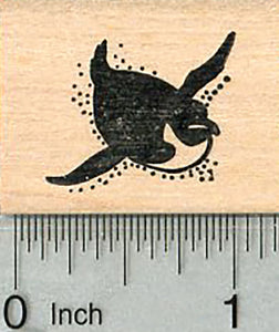 Tiny Penguin Rubber Stamp, on Belly