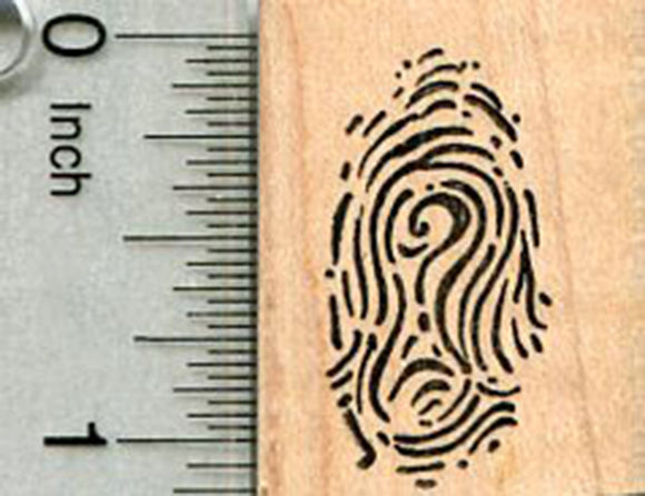 Fingerprint Rubber Stamp, with Question Mark, Detective Series