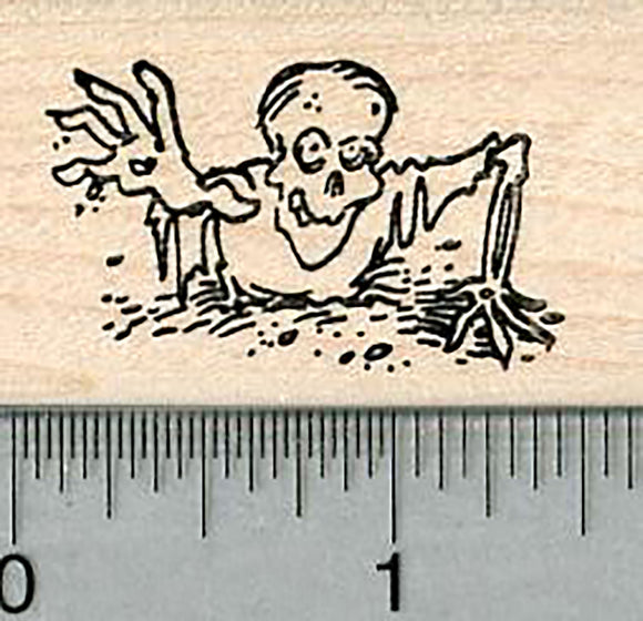 Zombie Rubber Stamp, Emerging from Grave