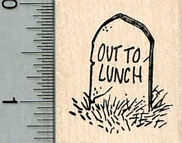 Zombie Headstone Rubber Stamp, Out to Lunch