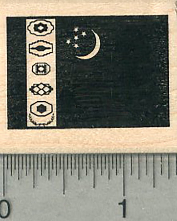Flag of Turkmenistan Rubber Stamp