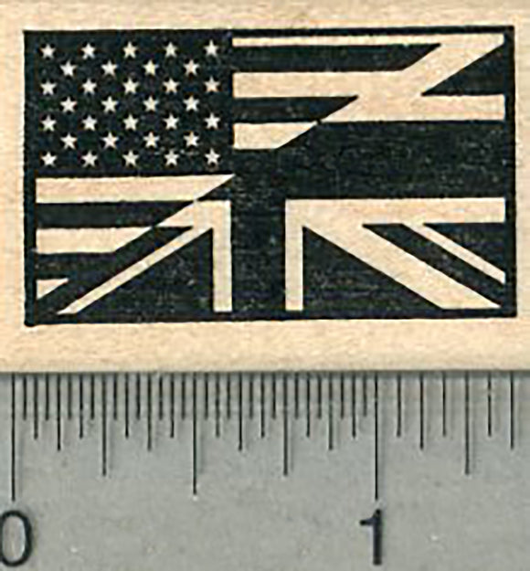 Flag of USA UK Friendship Rubber Stamp, United States and United Kingdom