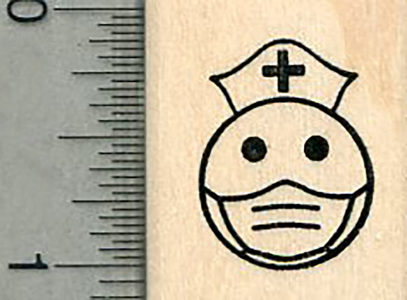 Nurse Emoji Rubber Stamp, Mask Series