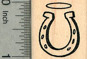 Small Horseshoe Rubber Stamp, with Halo