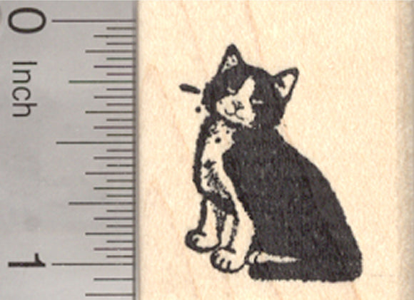 Tuxedo Cat Rubber Stamp, Small Black and White Kitty