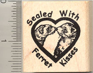 Ferret Kisses Rubber Stamp, Sealed with a Kiss