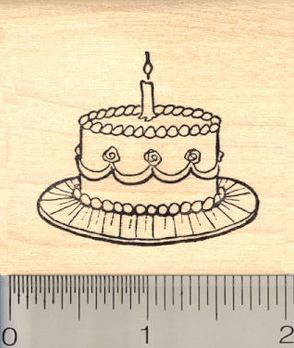 Birthday Cake Rubber Stamp